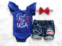 Girl's God Bless the USA Outfit