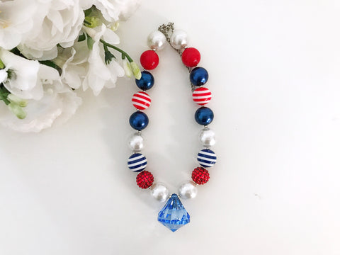 BLOWOUT Red, White, and Blue Diamond Chunky Necklace