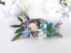 Floral Nylon Headband Aqua and Lavender