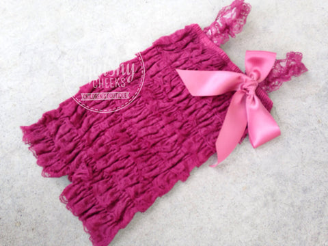 BLOWOUT Berry Lace Romper