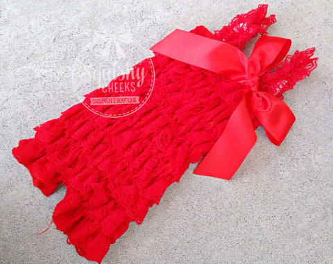 BLOWOUT Red Lace Romper