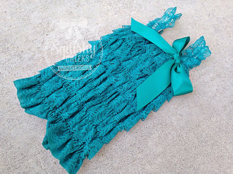 BLOWOUT Teal Lace Romper