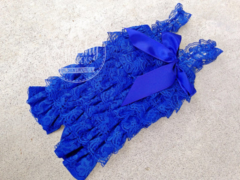 BLOWOUT Royal Blue Lace Romper