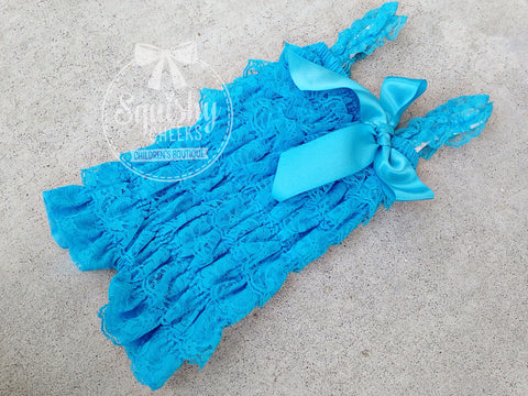 BLOWOUT Turquoise Blue Lace Romper