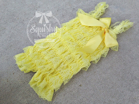 BLOWOUT Yellow Lace Romper