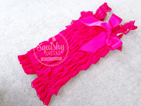 Hot Pink Lace Romper