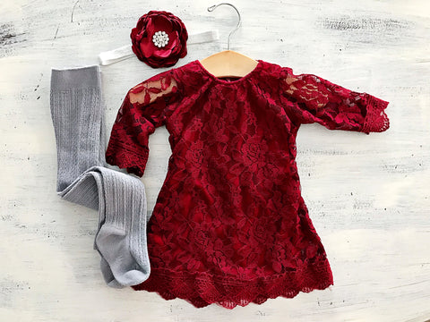 Girl's Red Lace Dress Crochet Outfit
