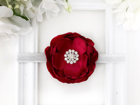 Satin Burgundy Flower Headband