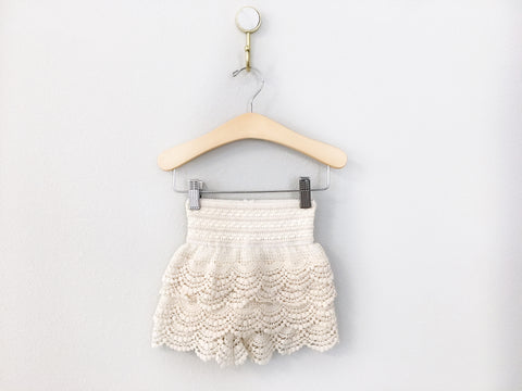 Girl's Ivory High-Waisted Crochet Shorts