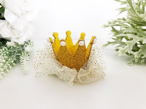 CLEARANCE Yellow Gold Princess Crown Hairclip