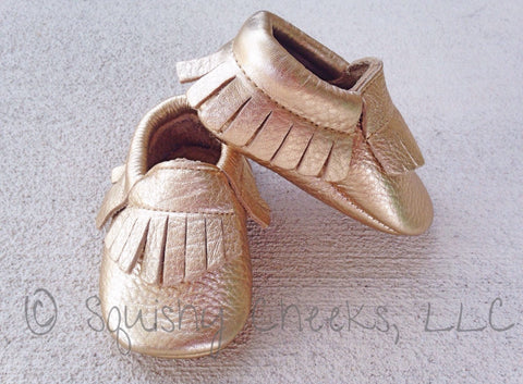 BLOWOUT: Leather Gold Moccasins
