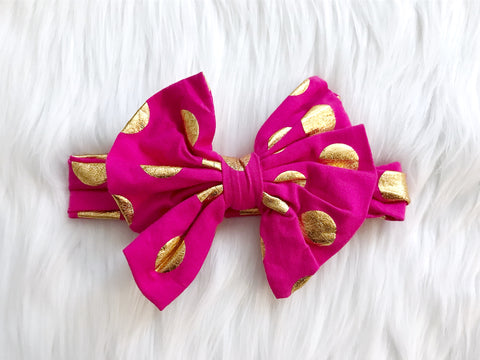 CLEARANCE Hot Pink & Gold Dot Fan Headband