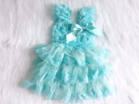 BLOWOUT Aqua Ruffled Lace Dress