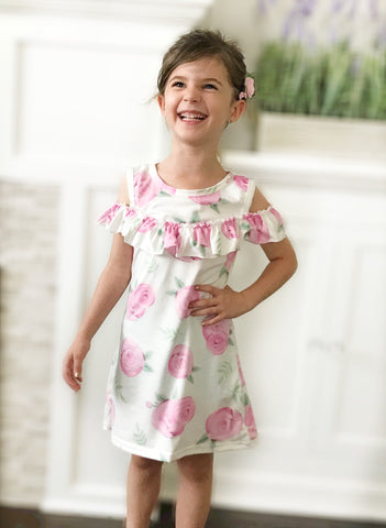 Girl's Floral Off the Shoulder Dress