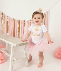 Personalized Pink and Gold Birthday Princess Top