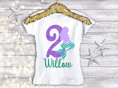 Mermaid Lady Birthday Shirt - Any Age