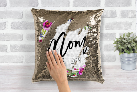 Floral Mom Gold Sequin Pillow