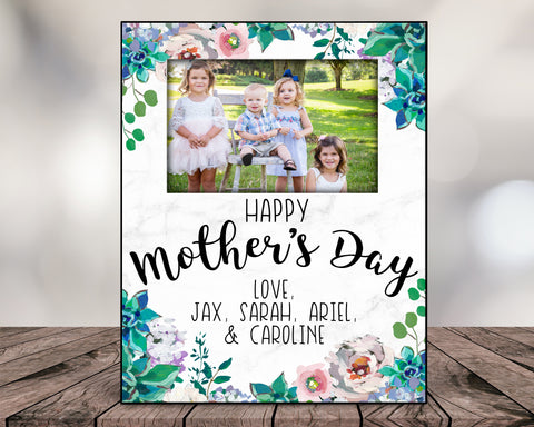 Happy Mother's Day Personalized Floral Picture Frame