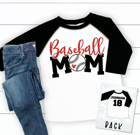Custom Baseball Mom 3/4 Sleeve Raglan Baseball Tee
