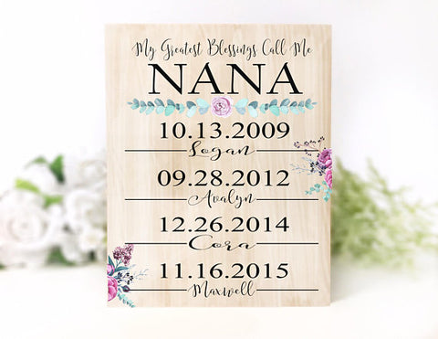 My Greatest Blessings Call Me Nana Personalized Plaque
