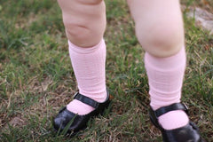 Light Pink Cable Knit Knee High Socks
