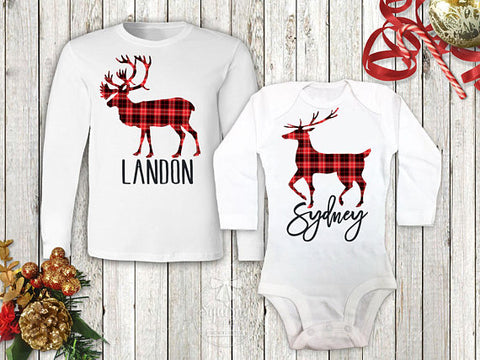 Boy's Plaid Reindeer Personalized Top