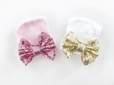 Sequin Bow Newborn Hat