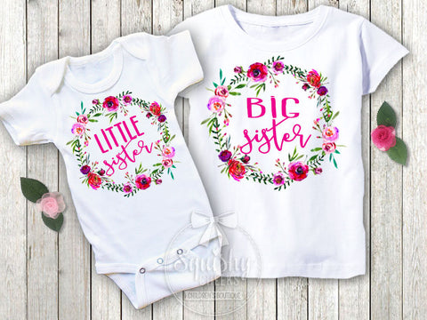 Big Sister & Little Sister Shirt Pack Floral