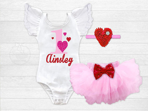 Girl's Personalized Valentine Birthday Outfit