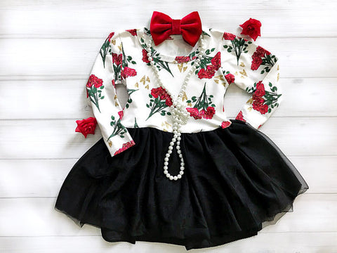 Girl's Red and Black Floral Dress