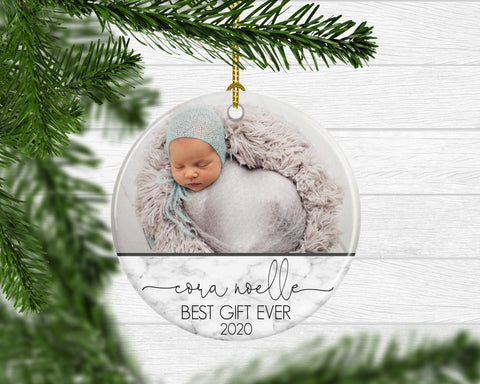 Custom Photo Baby's 1st Christmas Keepsake Ornament