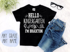 Boy's Personalized Hello Grade Back to School Shirt