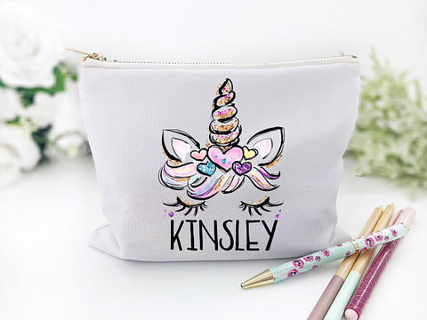 Girl's Personalized Unicorn School Supplies Bag
