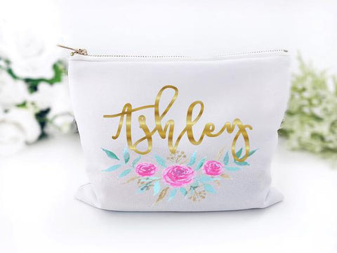 Girl's Personalized Floral Clutch Bag