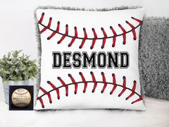 Boy's Personalized Baseball Grey Plush Pillow