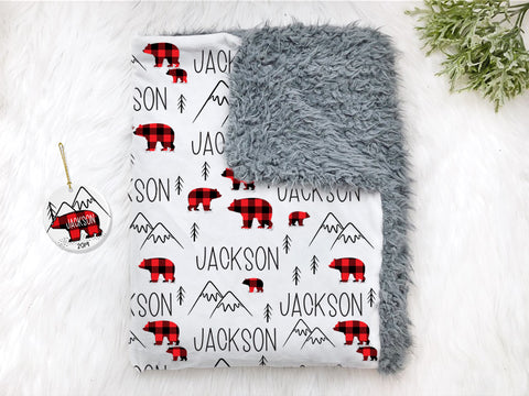 Boy's Personalized Buffalo Plaid Bear Christmas Baby Swaddle Blanket