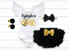 Girl's Personalized Bee Birthday Outfit