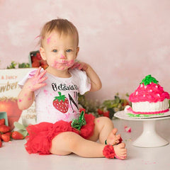 Girl's Personalized 1st Birthday Strawberry Outfit