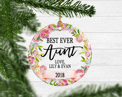 Personalized Best Ever Aunt Ornament