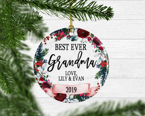 Personalized Best Ever Grandma Ornament