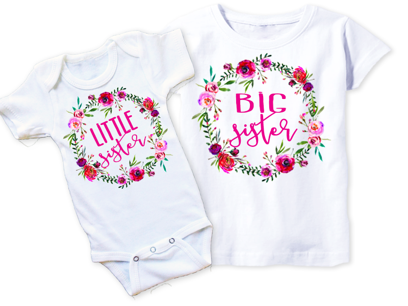 Floral Frame Sister Shirt Pack – Squishy Cheeks