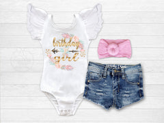 Girl's Boho Birthday Girl Outfit