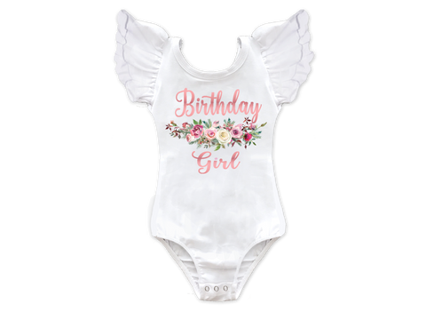 Girl's Rose Gold Floral Birthday Girl Top