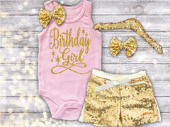 Pink and Gold Birthday Girl Tank