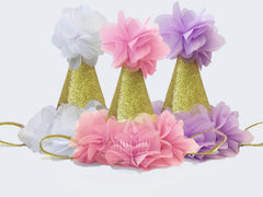 Birthday Hats - Pink, White, Lavender, Hot Pink
