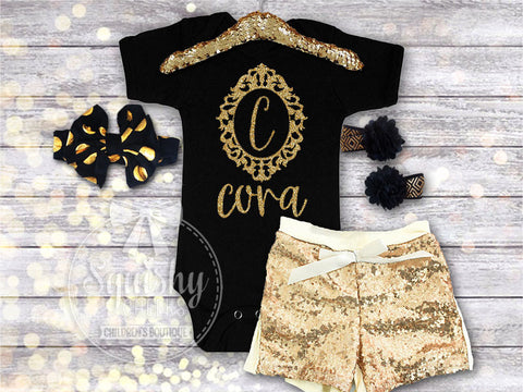 Personalized Gold Frame Monogram Outfit