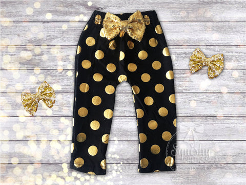 Black and Gold Polka Dot Baby Leggings