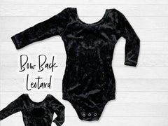 Black Velvet Long Sleeve Bow Back Flutter Sleeve Leotard