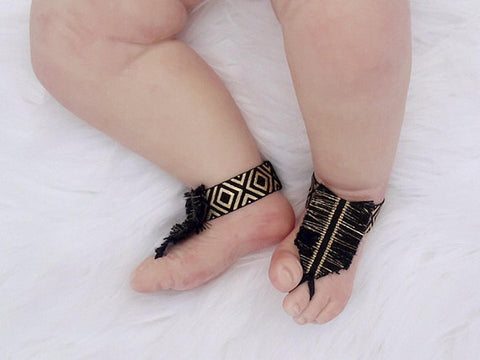 Girl's Black and Gold Boho Fringe Anklet Sandals