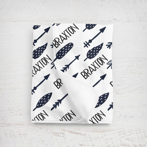 Boy's Personalized Arrow Swaddle Blanket